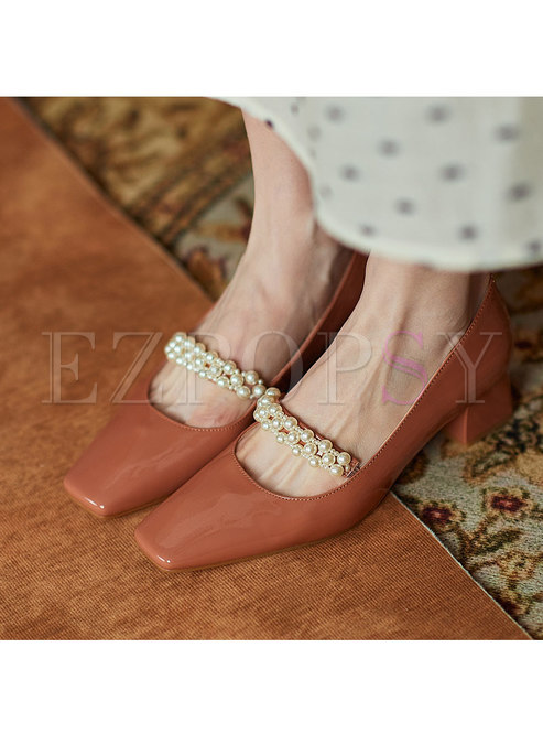 Patent Leather Square Toe Block Heel Shoes