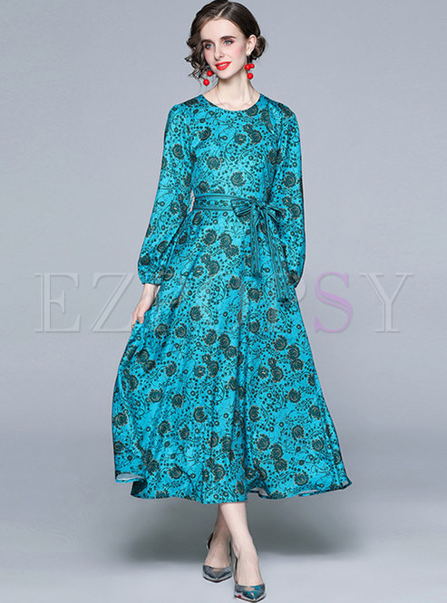 Retro Long Sleeve Empire Waist Print Maxi Dress