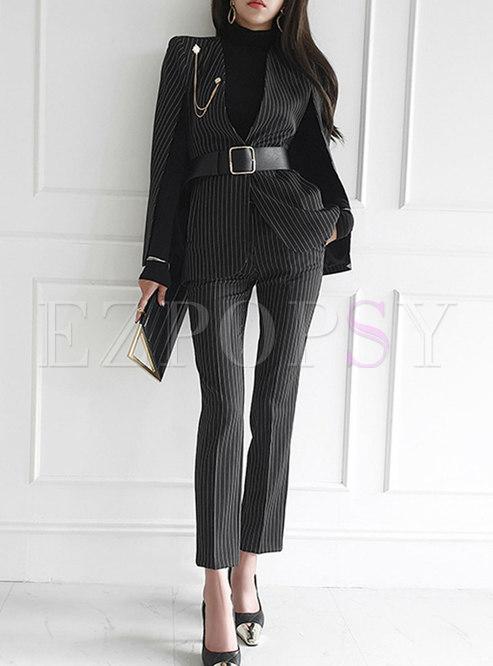 V-neck Striped Cloak Blazer & High Waisted Slim Pants