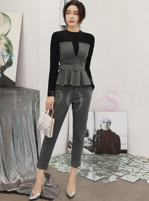 Color-blocked Patchwork Striped Slim Pant Suits