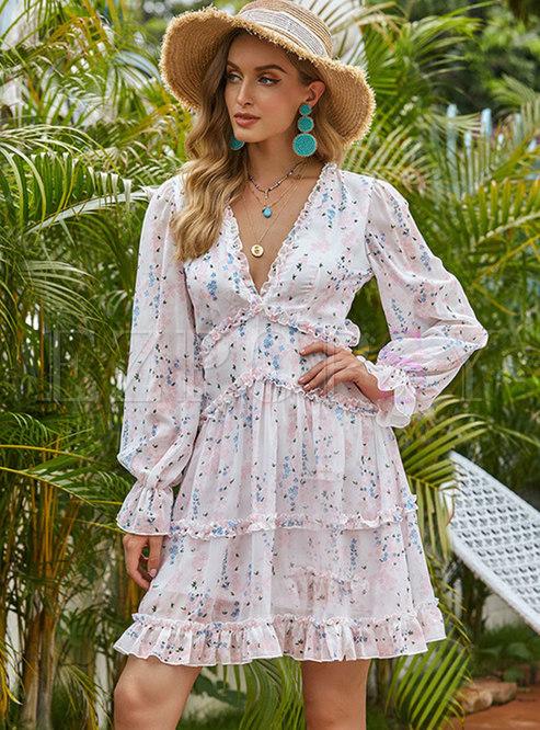 Backless Print Chiffon Ruffle Tiered Mini Dress
