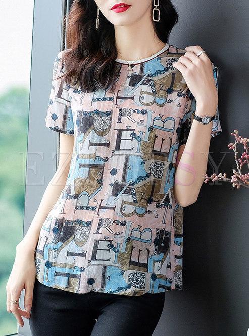 Letter Print Pullover Silk T-shirt
