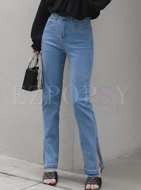 Blue Straight High Waisted Fringe Split Jeans