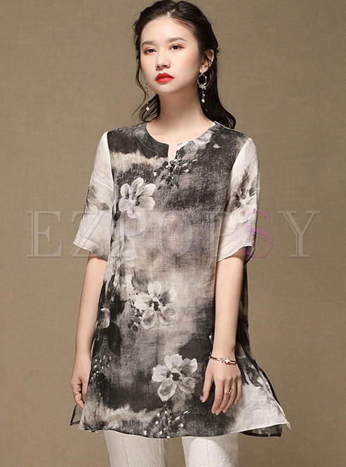 V-neck Short Sleeve Print Split T-shirt
