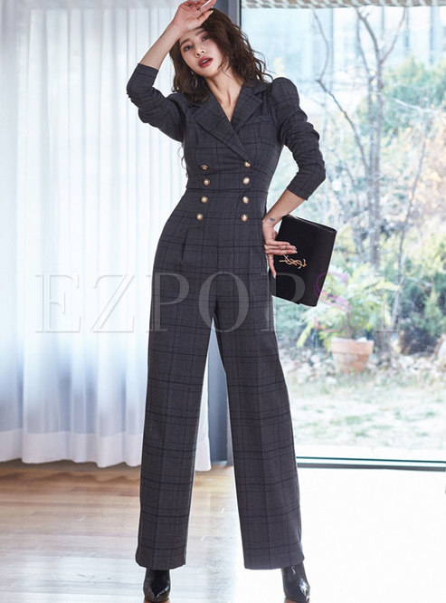 Notched Double-breasted Plaid Wide Leg Jumpsuis