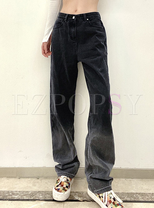 High Waisted Gradient Straight Jeans