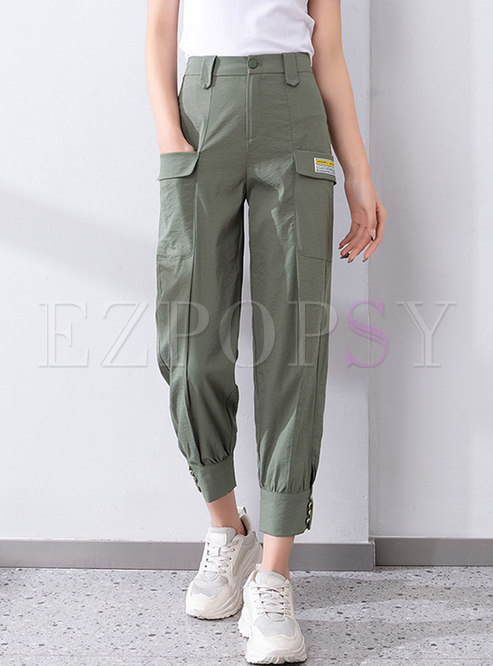 Casual High Waisted Ankle Banded Cargo Pants