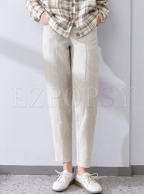 Elasticated Waist Linen Harem Pants