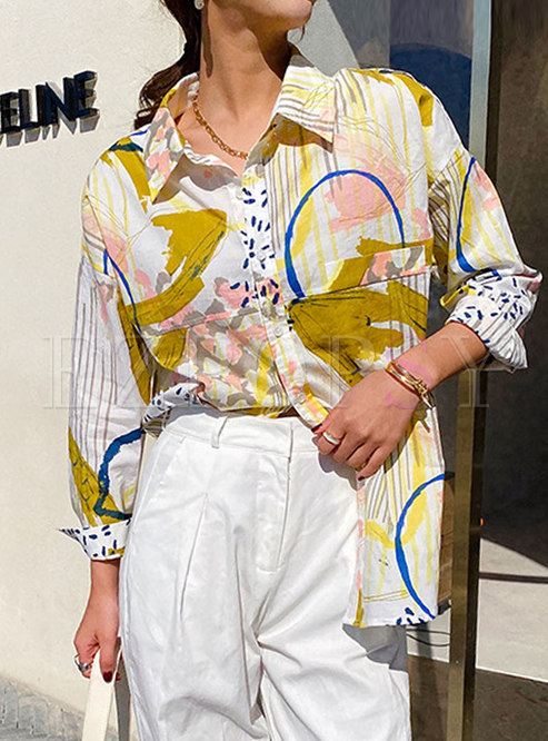 Casual Turn-down Collar Print Blouse