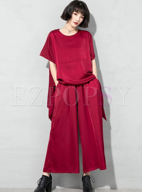 Asymmetric Pullover Plus Size Palazzo Pants Suits