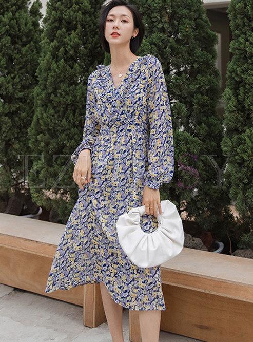 Long Sleeve Print Ruffle A Line Midi Dress