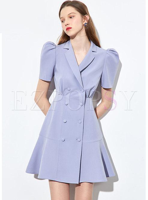 Puff Sleeve High Waisted A Line Blazer Dress