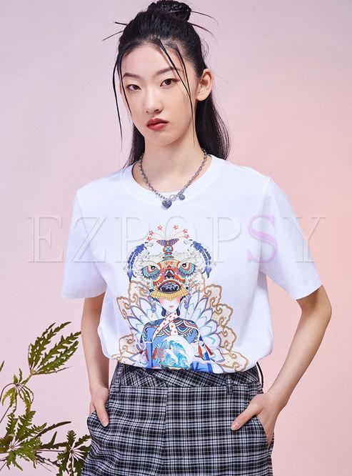 Print Pullover Short Sleeve T-shirt