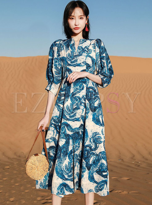 V-neck Print Chiffon A Line Beach Midi Dress