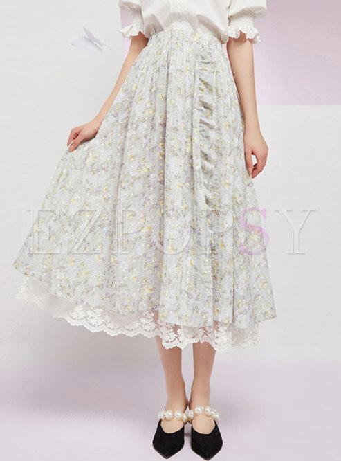 Lettuce Lace Patchwork Print Maxi Skirt