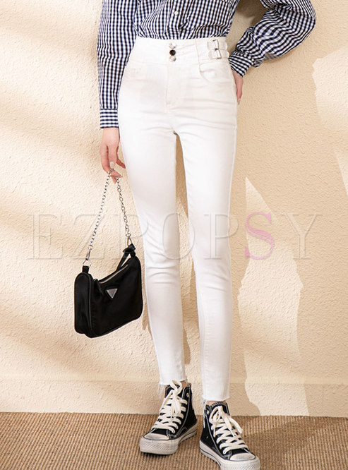 White High Waisted Pencil Jeans