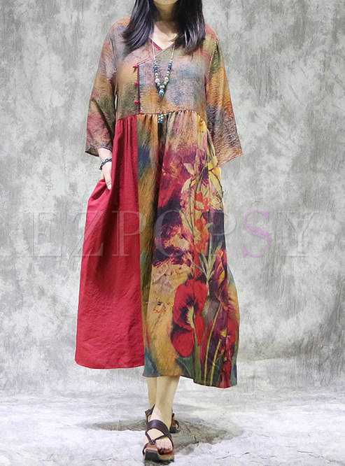 Plus Size Red Print Linen Shift Maxi Dress