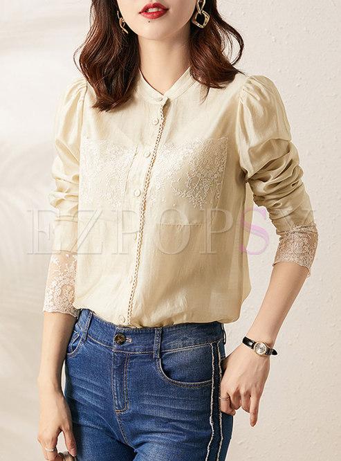 Lace Embellished Patchwork Long Sleeve Blouse