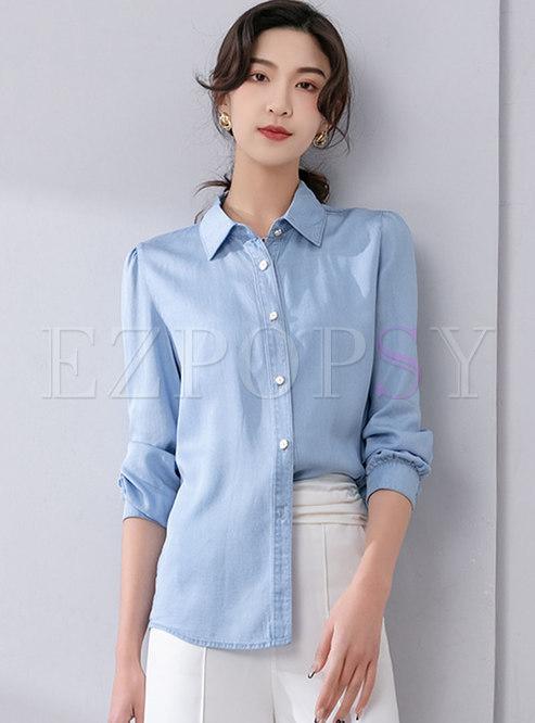 Brief Turn-down Collar Puff Sleeve Shirt