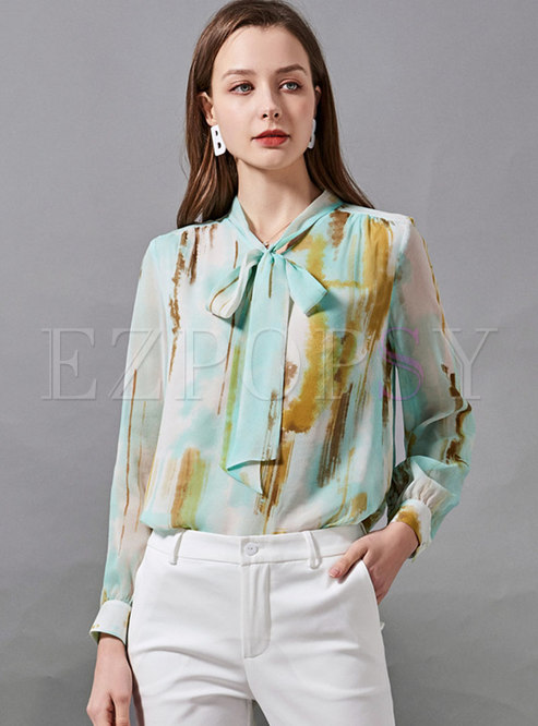 V-neck Bow Tie Ribbon Tie-dye Blouse