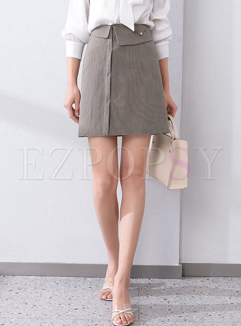 High Waisted Plaid A Line Mini Skirt