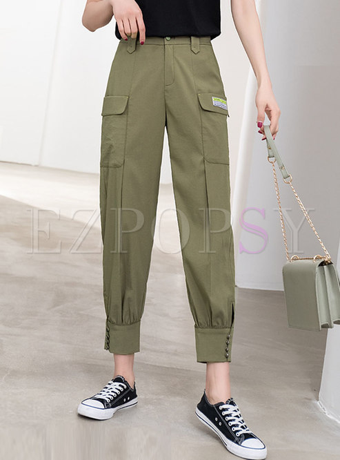 Green Casual High Waisted Cargo Pants
