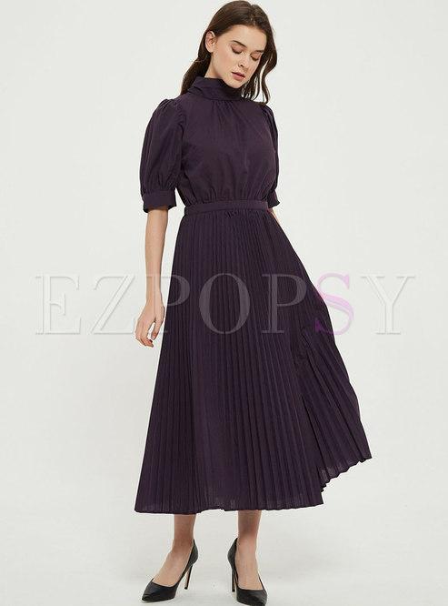 Mock Neck Bowknot Ribbon Pleated Maxi Dress