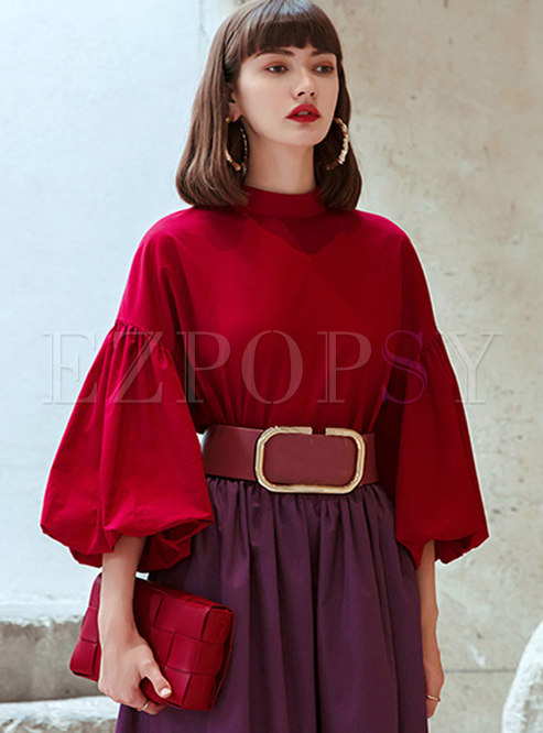 Red Bowknot Ribbon Lantern Sleeve Blouse