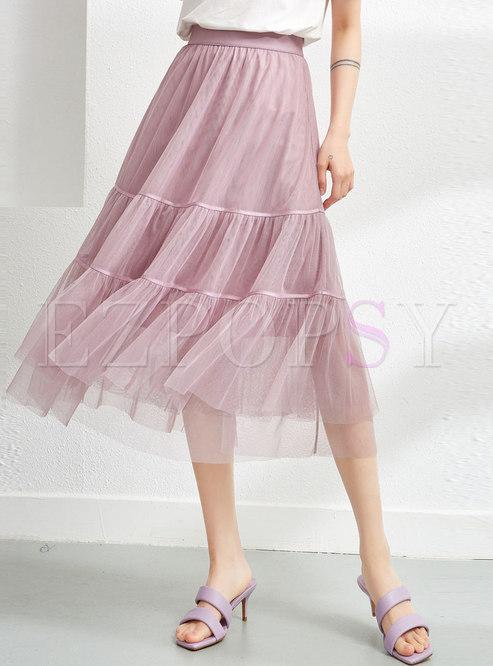 Pink High Waisted A Line Midi Mesh Skirt
