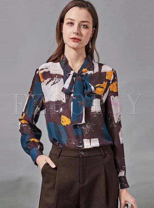 Bowknot Ribbon Print Silk Blouse