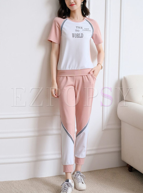 Pink Casual Letter Patchwork Pant Suits