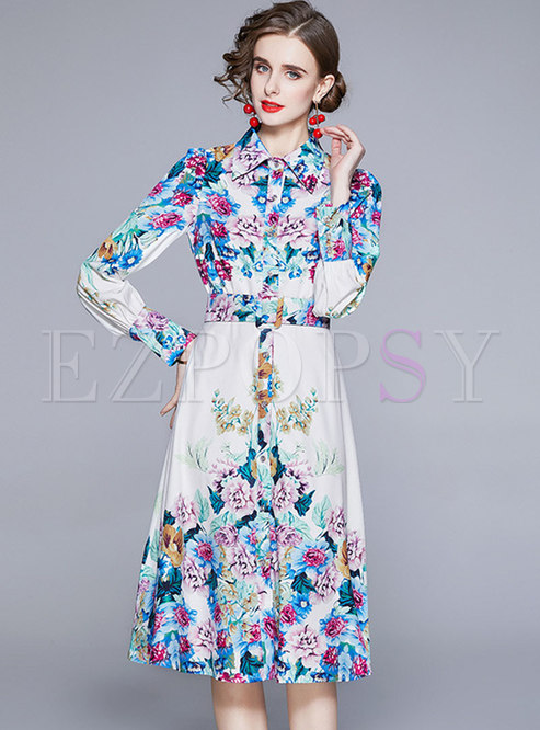 Turn-down Collar Print Belted A Line Dress