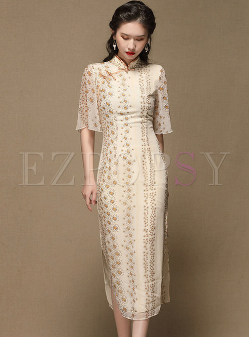 Mandarin Collar Print Improved Cheongsam Dress