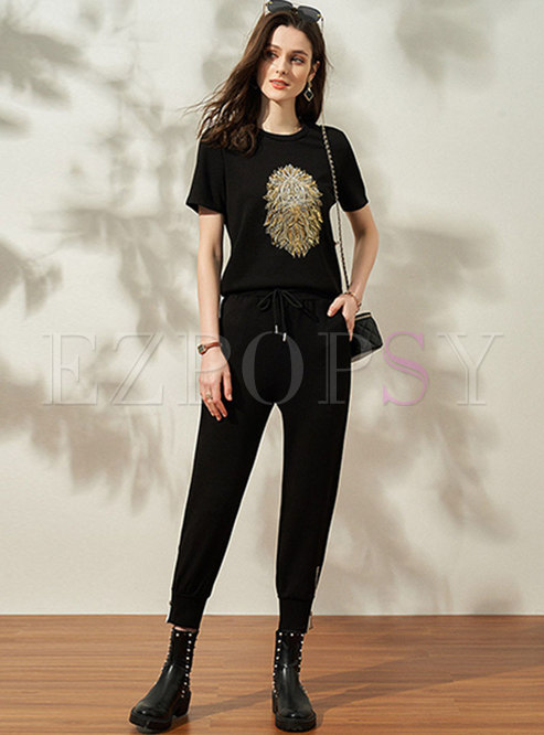 Black Casual Crew Neck High Waisted Pants Suits