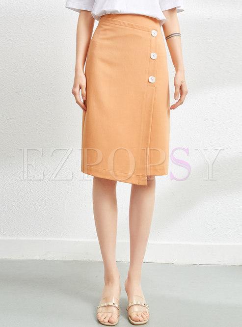 High Waisted Asymmetric Straight Skirt
