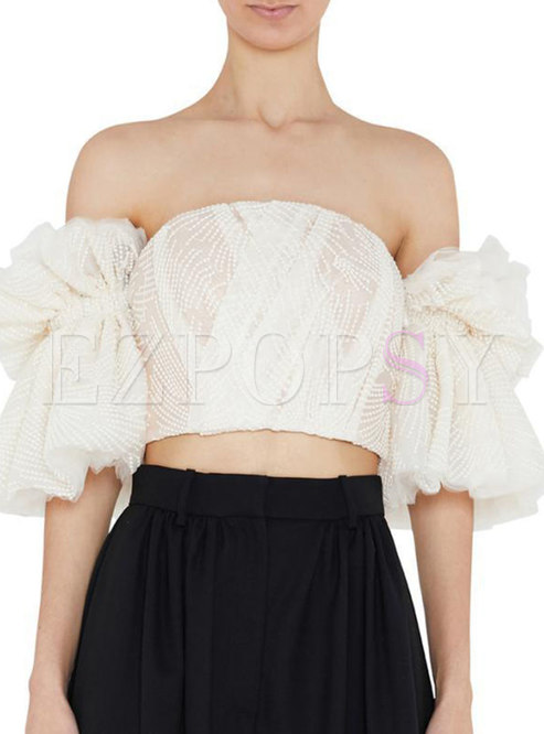 Off-the-shoulder Mesh Embroidered Crop Blouse