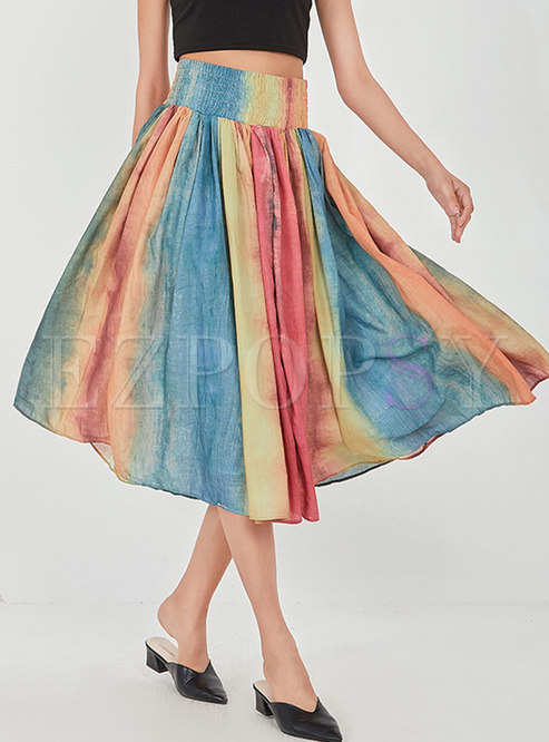 High Waisted Ruched Tie-dye Midi Skirt