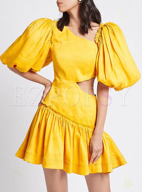 Sexy V-neck Puff Sleeve Ruched Openwork Mini Dress