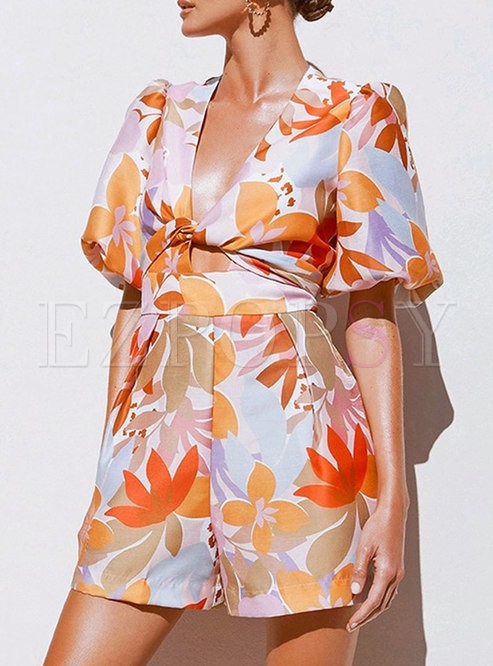 Sexy V-neck Print High Waisted Straight Rompers