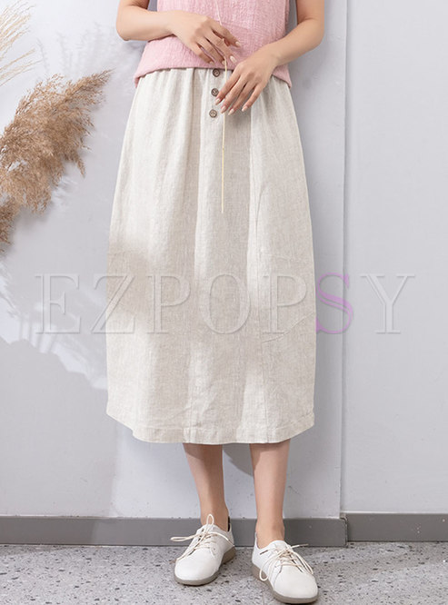 High Waisted A Line Long Linen Skirt