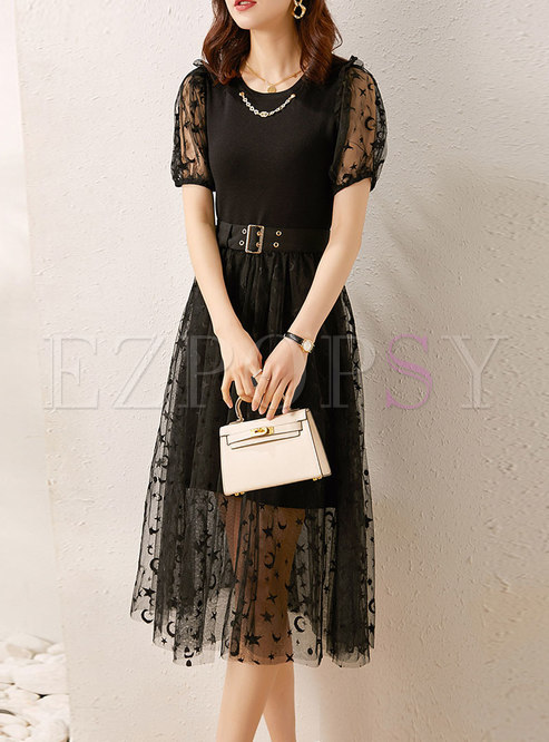 Mesh Print Patchwork Knitted Belted Skirt Suits