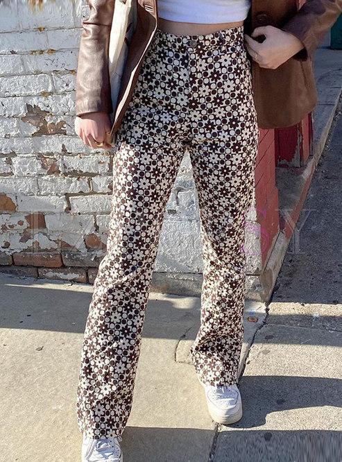Casual High Waisted Print Straight Pants