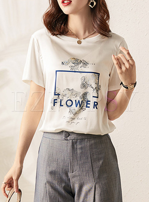 Casual Brief Letter Print Pullover T-shirt