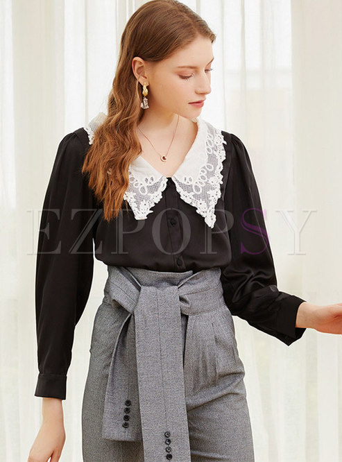 Color-blocked Lace Lapel Single-breasted Blouse