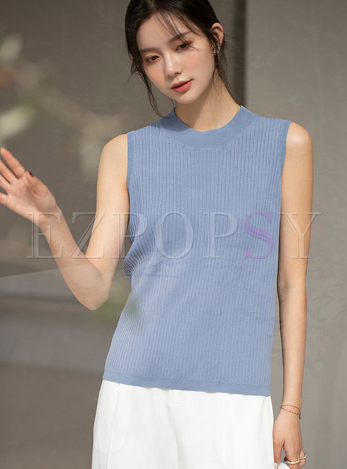 Crew Neck Sleeveless Pullover Knit T-shirt