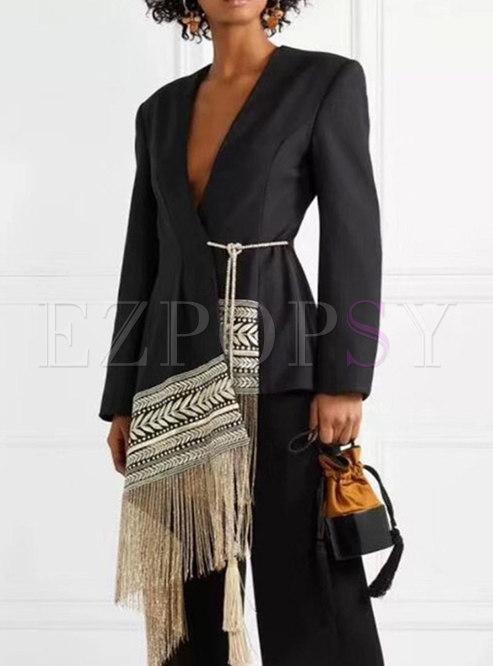 Black Embroidered Fringe Patchwork Blazer
