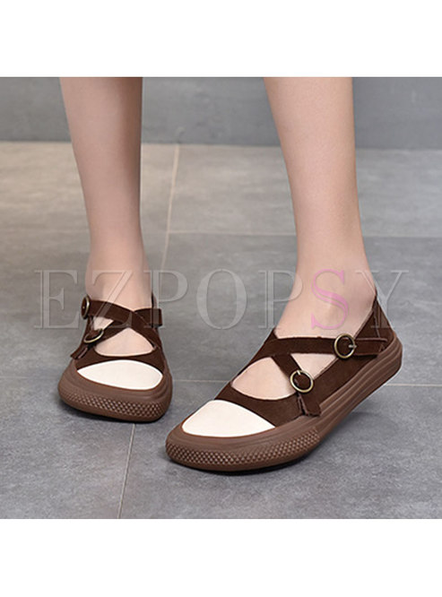 Rounded Toe Cross Strap Velcro Flats