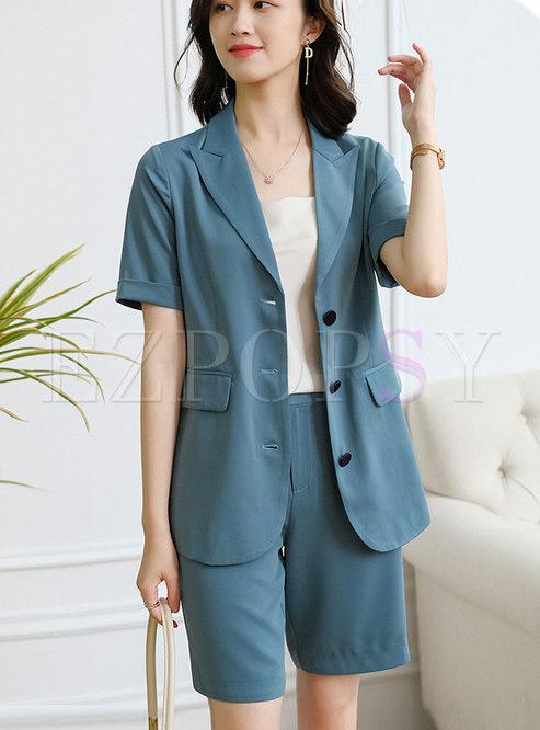 Casual Lapel Short Sleeve Flap Pocket Hot Pant Suits