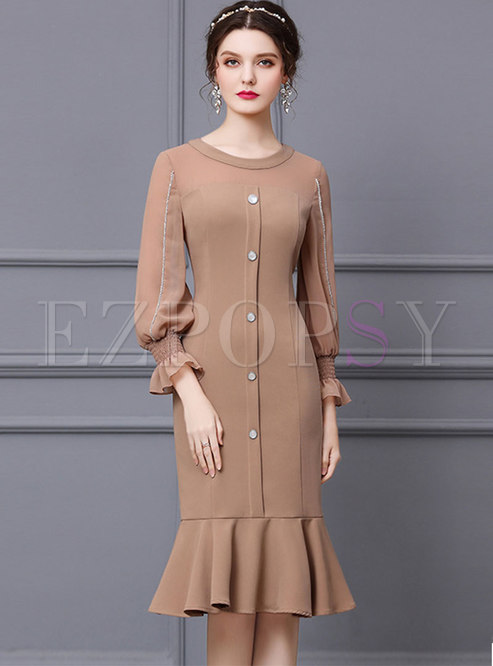 Crew Neck Lantern Sleeve Cocktail Peplum Dress