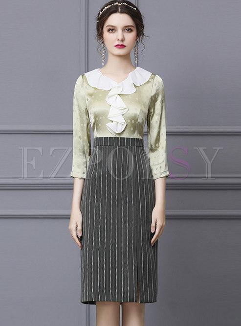 Polka Dot Ruffle Patchwork Striped Bodycon Dress